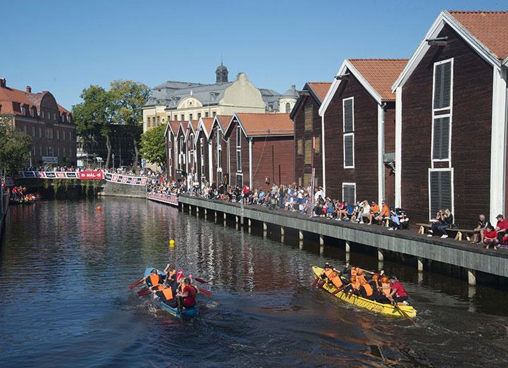 Vattenfestival med paddling i Hudiksvall.